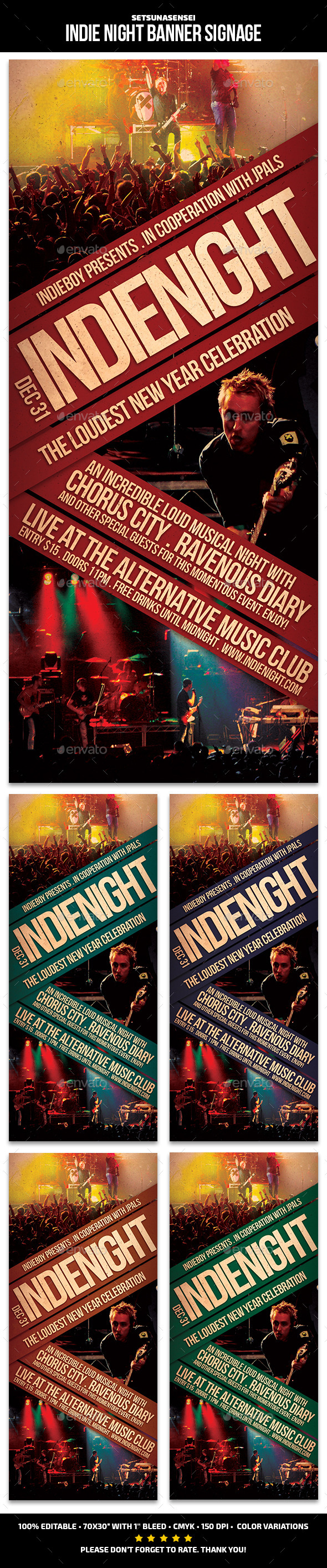 Indie Night Banner Signage - Signage Print Templates