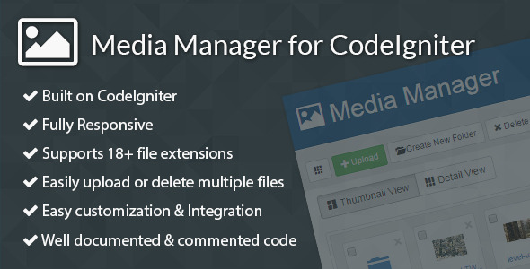 Media Manager for CodeIgniter - CodeCanyon Item for Sale