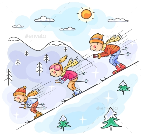 Family Skiing - Sports/Activity Conceptual