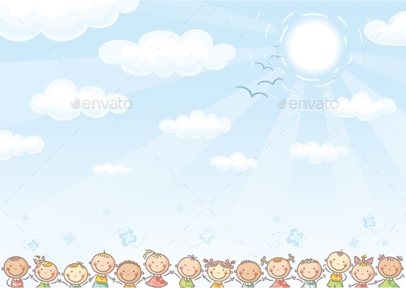 Background with Sky and Children - Backgrounds Decorative