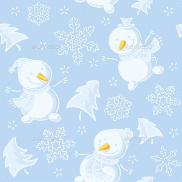 Seamless Pattern with Snowmen - Patterns Decorative