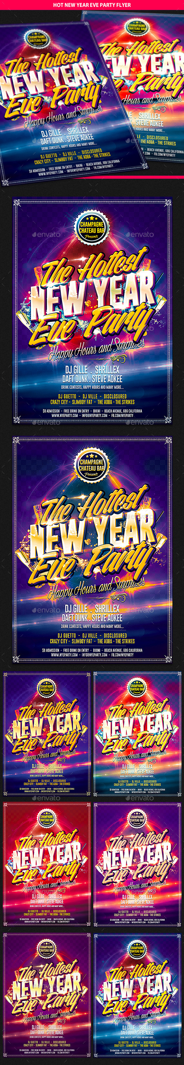 Hot New Year Eve Party Flyer - Clubs & Parties Events