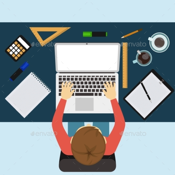 Businessman Working with Laptop and Documents - Concepts Business