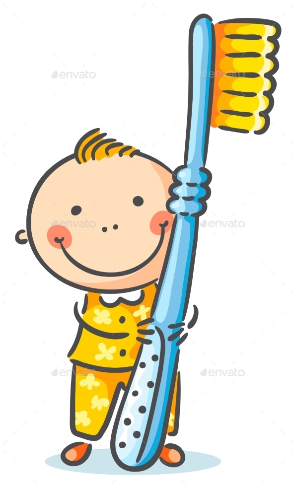 Boy With a Giant Toothbrush - People Characters
