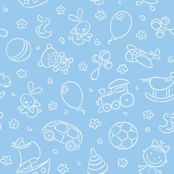 Seamless Pattern with Toys - Patterns Decorative