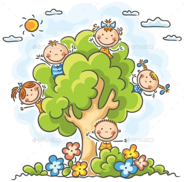 Kids playing in the Tree - People Characters