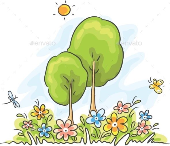 Summer Cartoon Landscape - Nature Conceptual