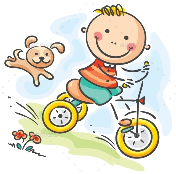 Boy riding his tricycle - People Characters