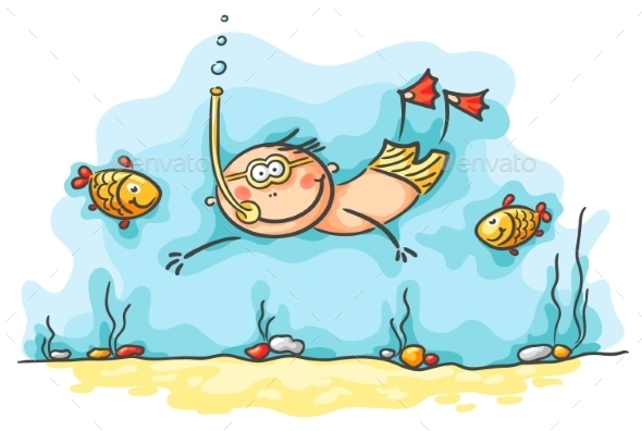 Happy Diver Swimming Underwater with Fishes - Sports/Activity Conceptual
