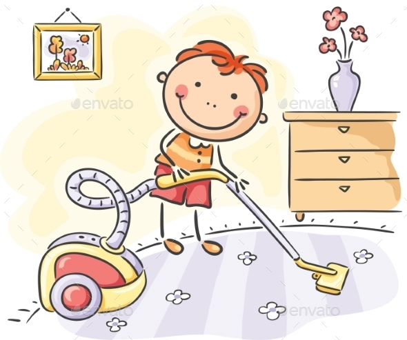 Boy helping his parents with the housework - People Characters