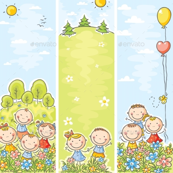 Children in Meadows Banner - Decorative Vectors