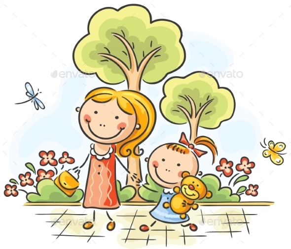 Mother and daughter walking in the park - People Characters
