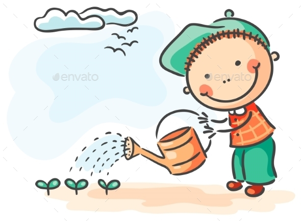 Children spring activities boy watering sprouts - People Characters