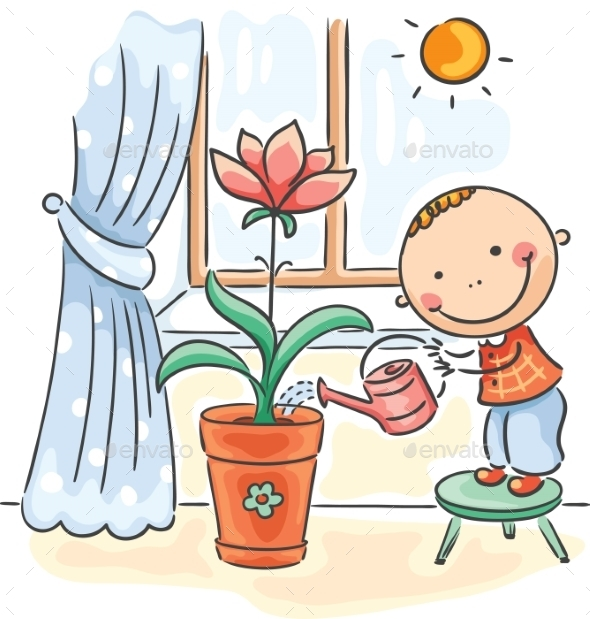 Child helping parents with the housework - waterin - People Characters