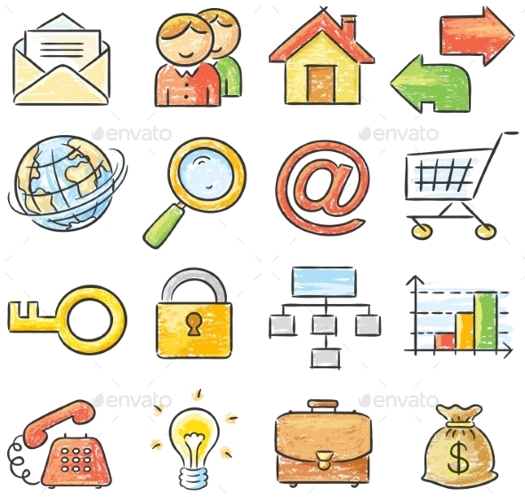Hand-drawn Web and Business Icons - Web Elements Vectors