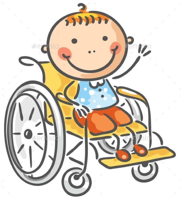 Friendly boy in a wheelchair - People Characters