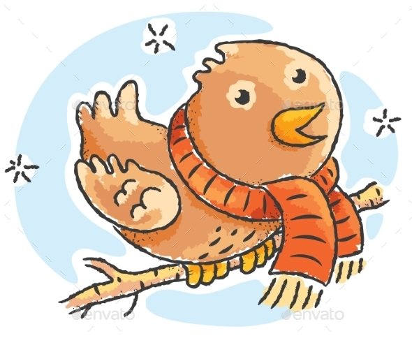 Cartoon bird wearing scarf on a winter day - Animals Characters