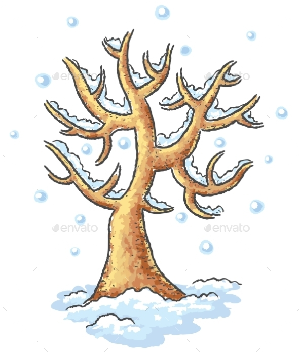 Winter tree drawing - Seasons Nature