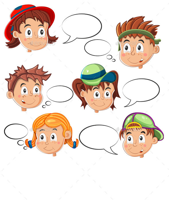 Children's Faces with Speech Bubbles - People Characters
