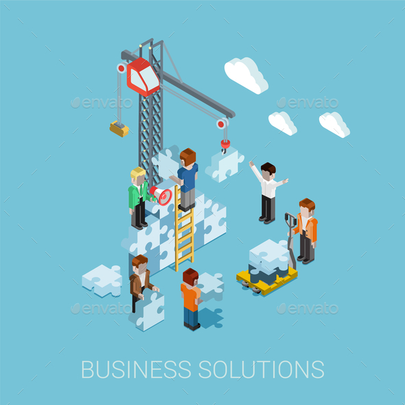 Flat 3D Isometric Business Solutions - Concepts Business