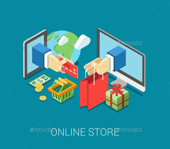Flat 3D Isometric E-Commerce Web Infographic - Concepts Business