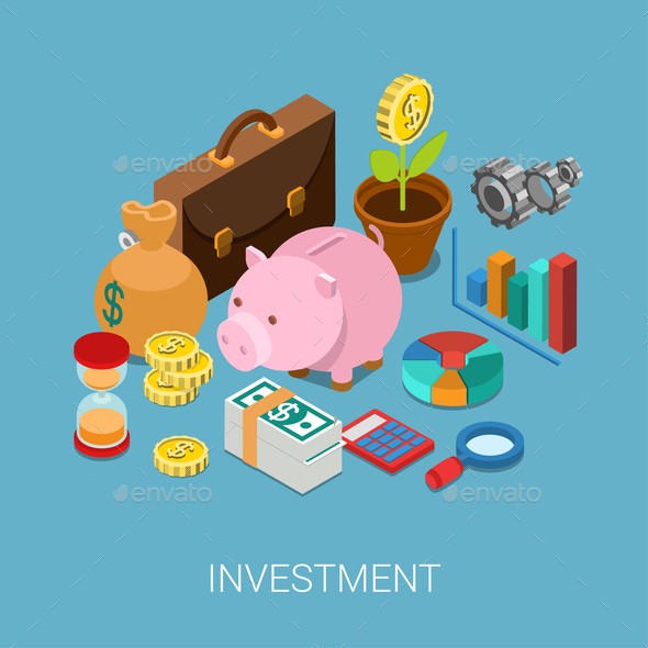 Flat 3D Isometric Investment Savings Finance - Concepts Business