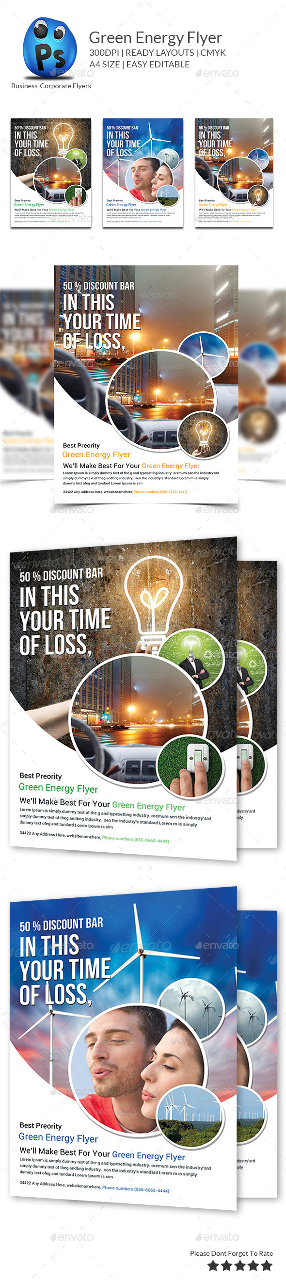 Green Energy Save Flyer Template - Corporate Flyers