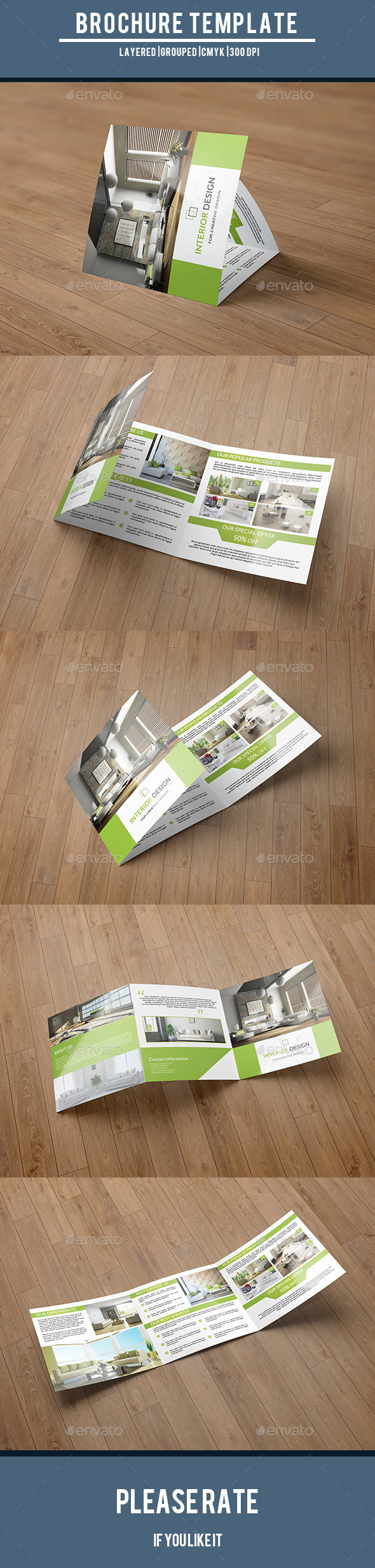 Square Trifold for Interior Design-V51 - Corporate Brochures