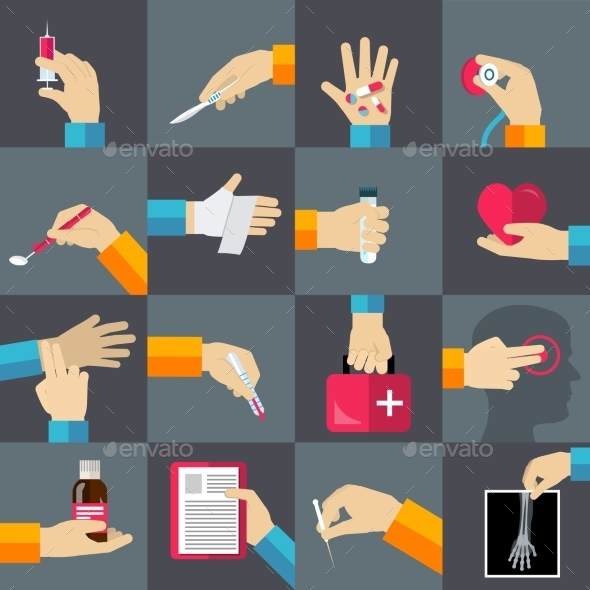 Medical hands flat icons set - Icons
