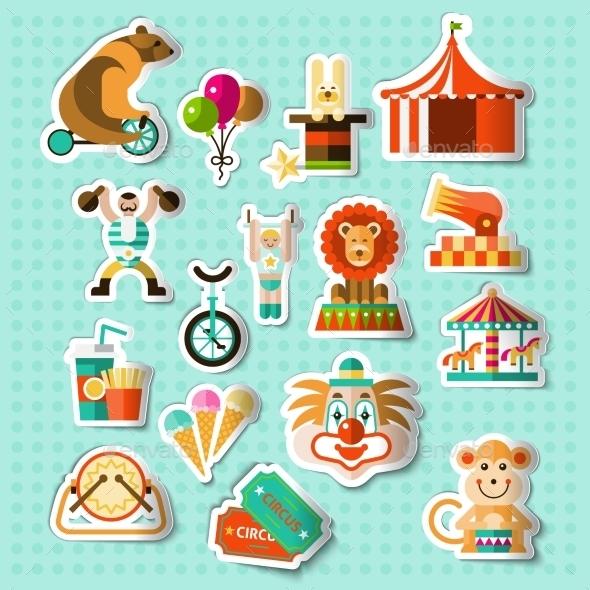 Circus Stickers Set - Decorative Symbols Decorative