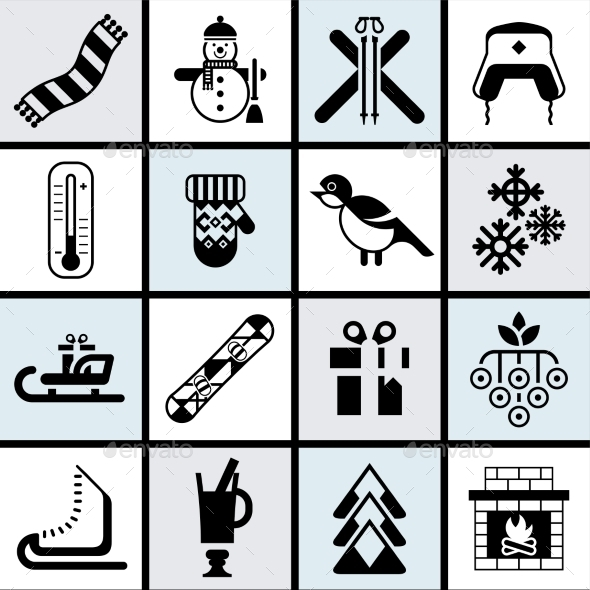 Winter Icons Set - Seasons/Holidays Conceptual