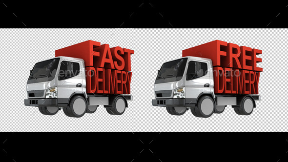 Delivery Van With Fast Delivery Letters On Back - 3D Backgrounds