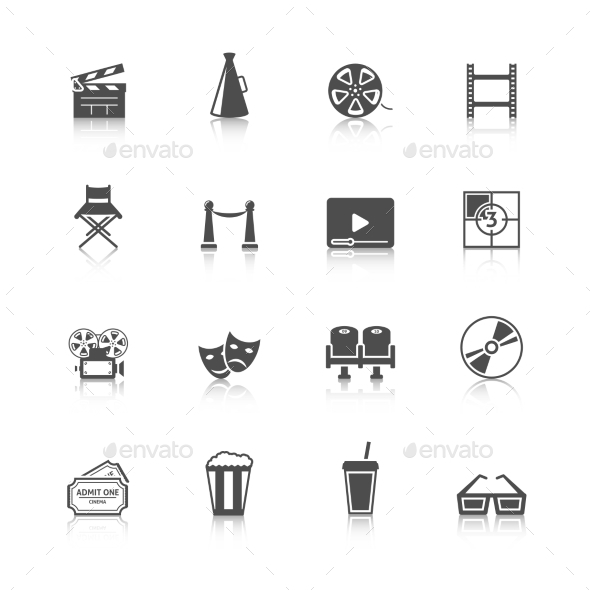 Cinema Icons Set - Web Elements Vectors