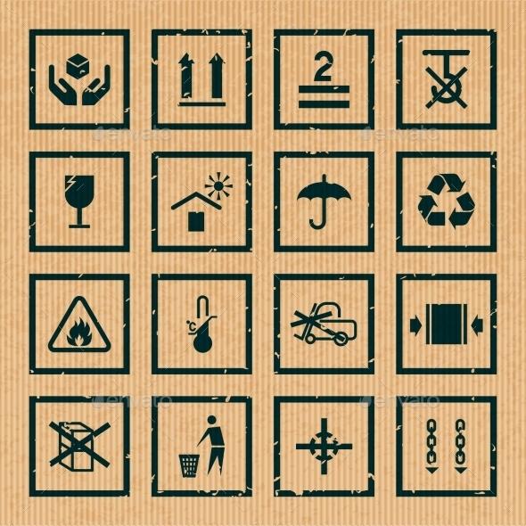 Handling and Packing Symbols - Web Elements Vectors