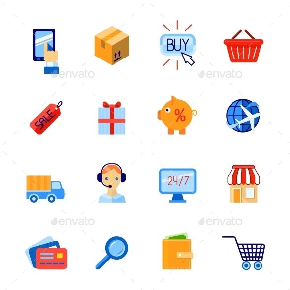 Shopping E-Commerce Icons Set - Concepts Business