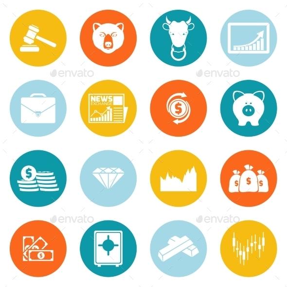 Finance Exchange Round Icons - Web Technology