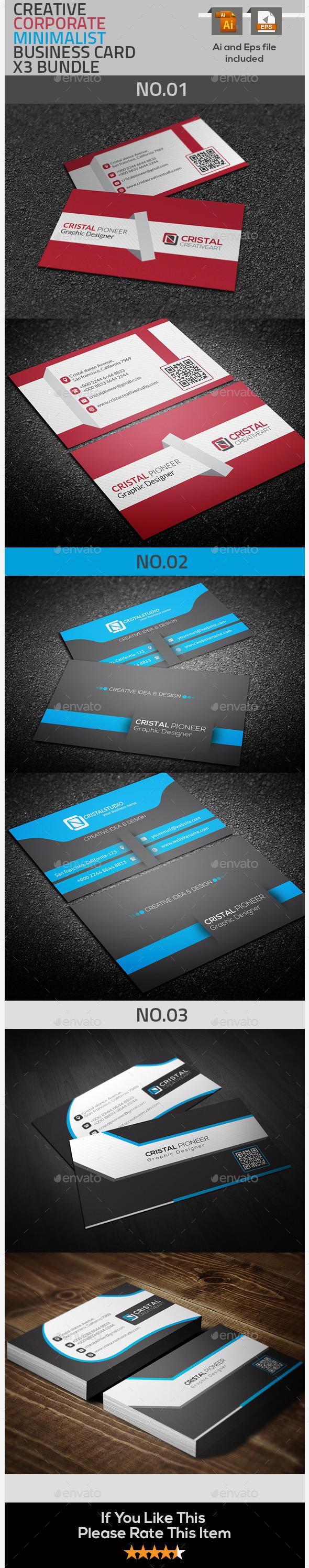 Corporate & Creative Business Card  X3 Bundle - Creative Business Cards