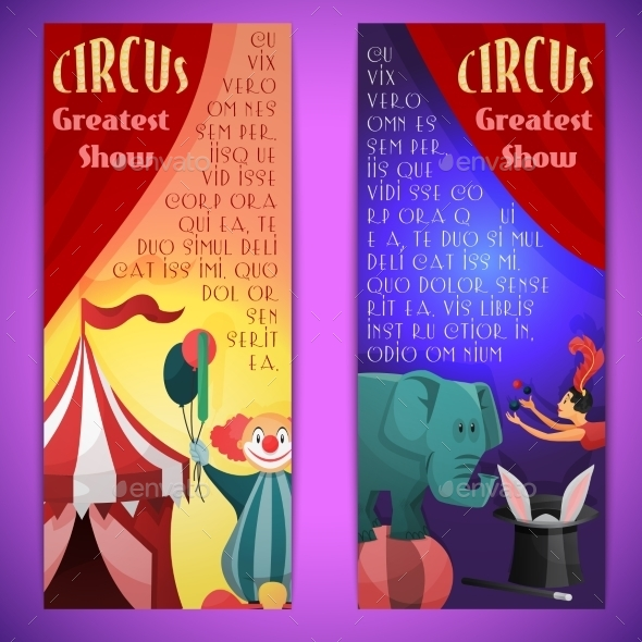 Vertical Circus Banner  - Borders Decorative