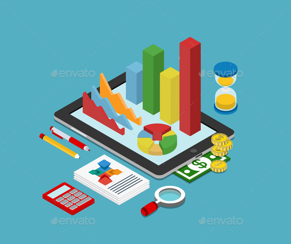 Flat 3D Isometric Business Finance Graphic - Concepts Business