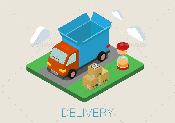 Flat 3D Isometric Delivery Van  - Concepts Business