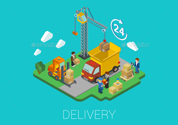 Flat 3D Isometric Delivery Loading Concept - Concepts Business