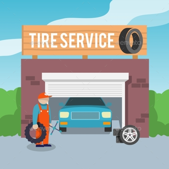 Tire Service Poster - Backgrounds Decorative