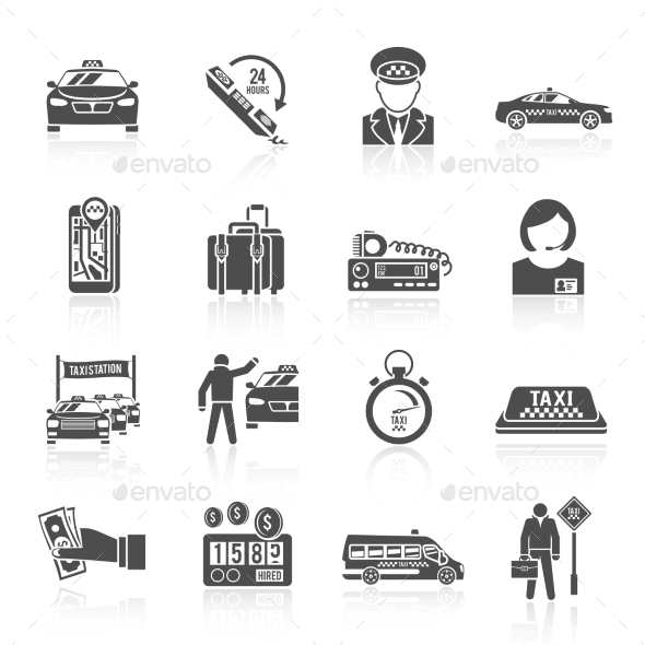 Taxi Icons Set - Travel Conceptual