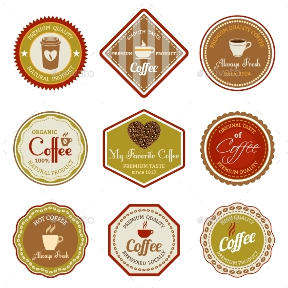 Coffee Labels Set - Food Objects