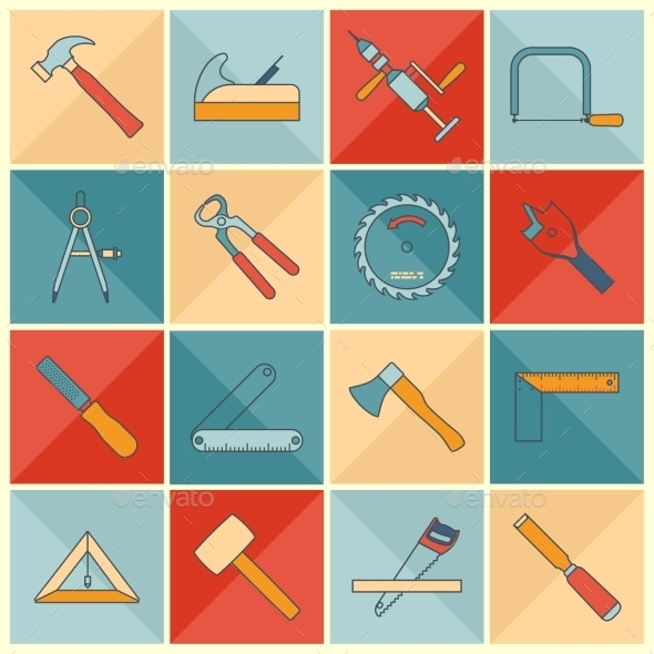 Carpentry Tools Icons - Industries Business