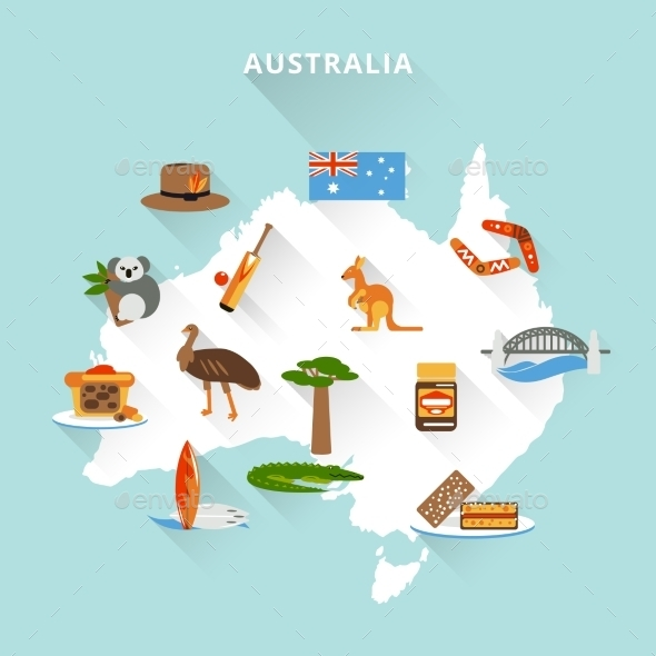 Australia Tourist Map - Travel Conceptual