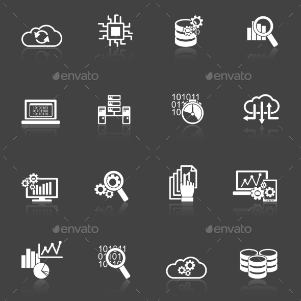 Database Analytics Icons Black and White - Web Elements Vectors