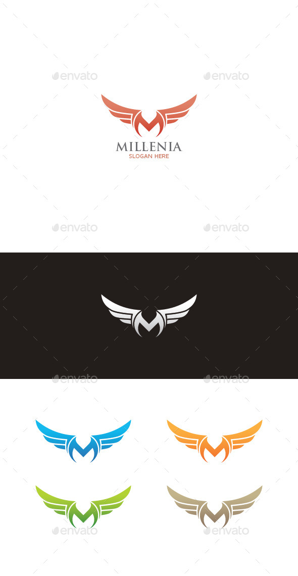 Winged M Letter Logo - Letters Logo Templates