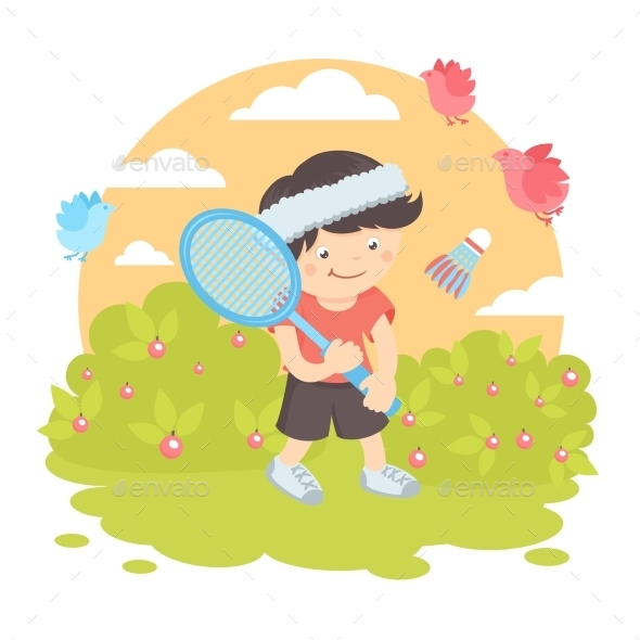 Boy Playing Badminton - Sports/Activity Conceptual