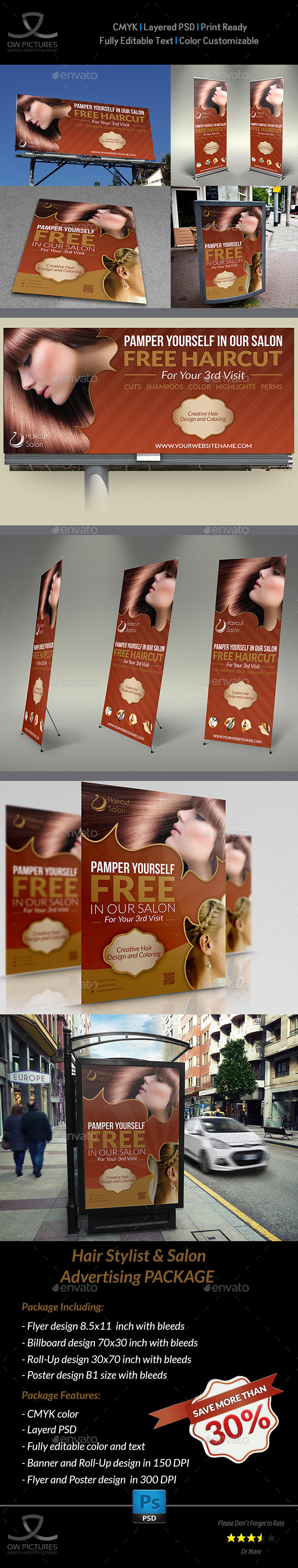 Hair Stylist & Salon Advertising Bundle - Signage Print Templates